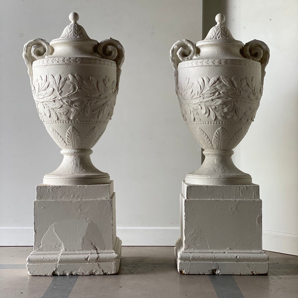 Pair of White Painted Plaster Urns
