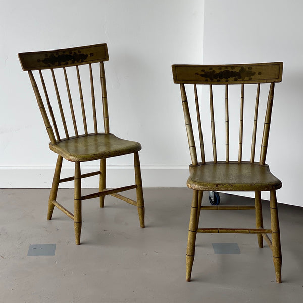 Pair of Faux Bamboo Spindle Back Chairs
