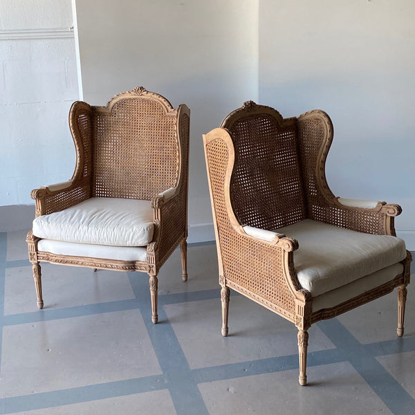 Pair of Cane Swedish Wingback Chairs