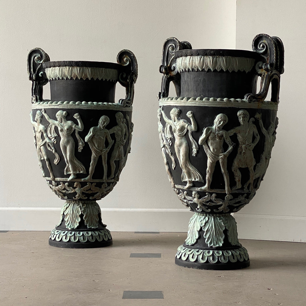 Pair of Oversized Neo-Classical Cast Iron Urns