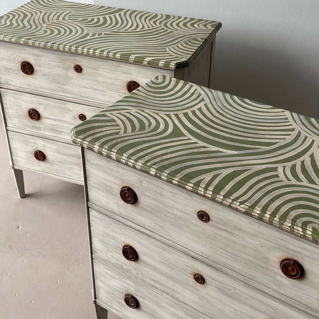 Pair of Gusto Painted Catharine Warren Chests