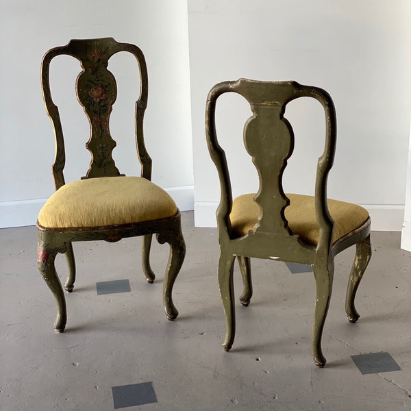 Pair of 18th C. Italian Painted Fauteuils