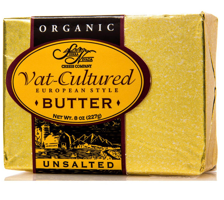 Sierra Nevada European Butter, Unsalted, Organic, Vat-Cultured 8oz