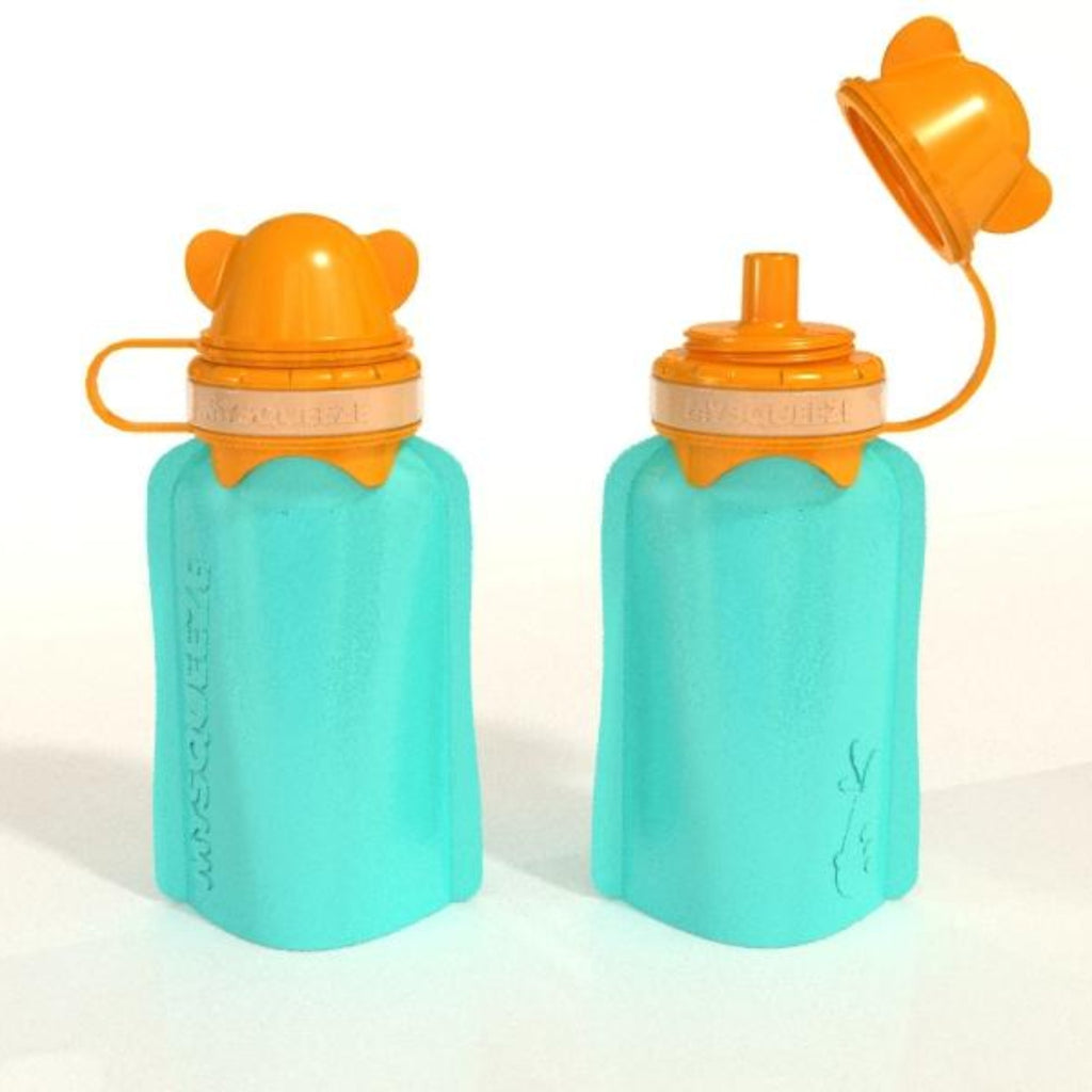 My Squeeze Reusable Silicone Food Pouch - Teal/Orange