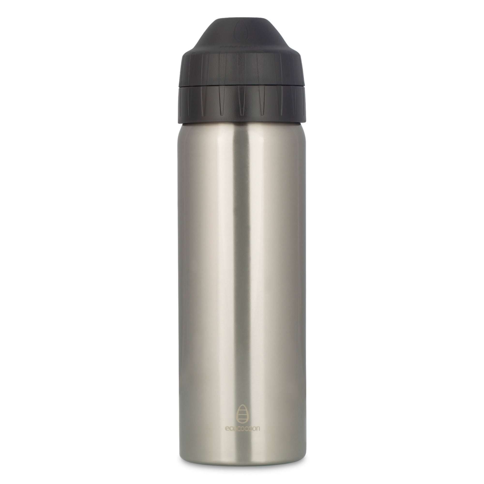 600ml Ecococoon Insulated Drink Bottle. Brushed Stainless Steel. Silver.