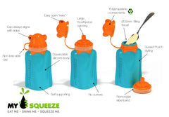 My Squeeze Reusable Silicone Food Pouch - Purple/Yellow