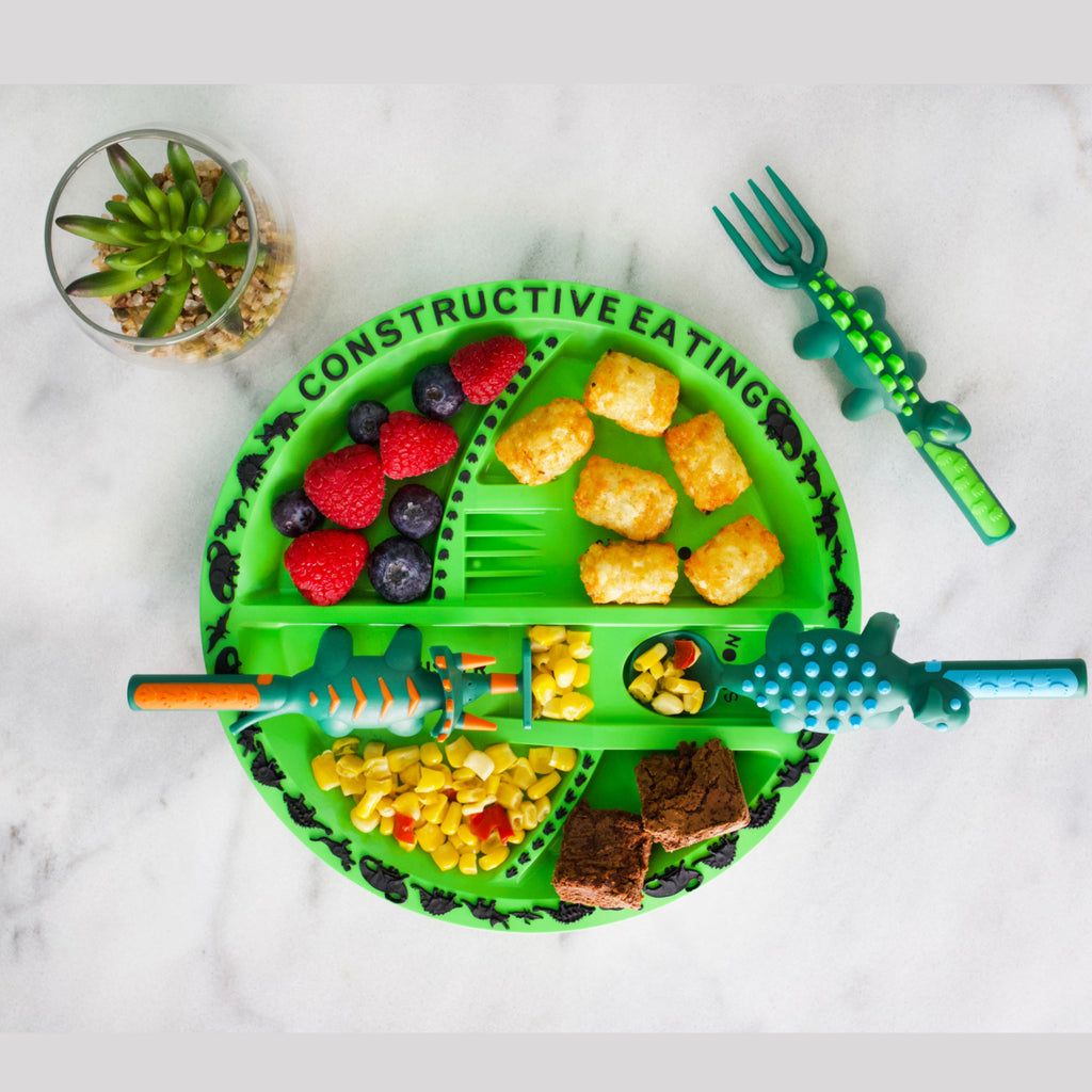 Constructive Eating Plate and Cutlery Set - Dinosaur