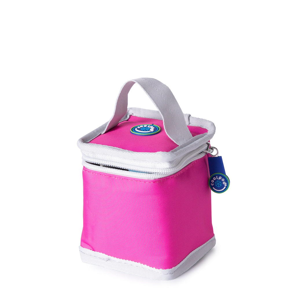 CoolPod Freezable Yoghurt Insulated Bag With Spoon - Pink & Grey