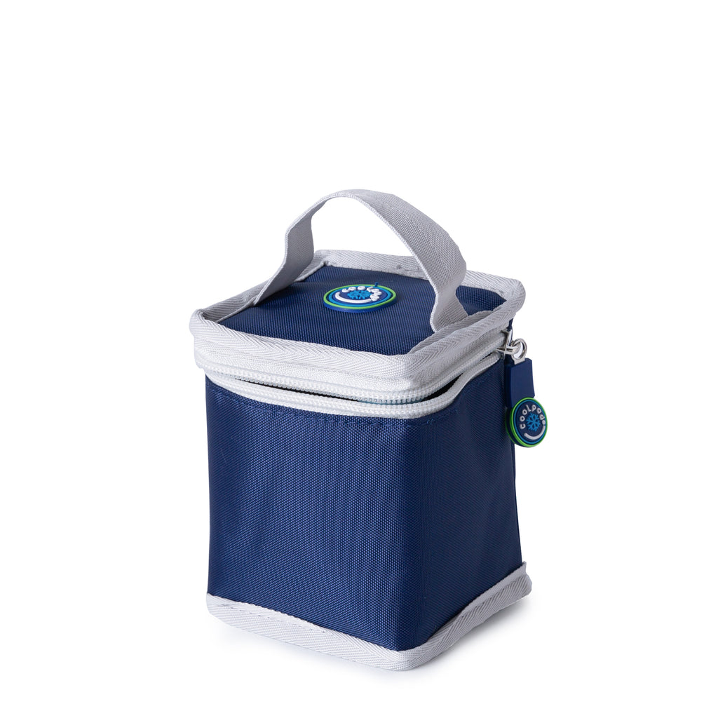 CoolPod Freezable Yoghurt Insulated Bag With Spoon - Navy & Grey