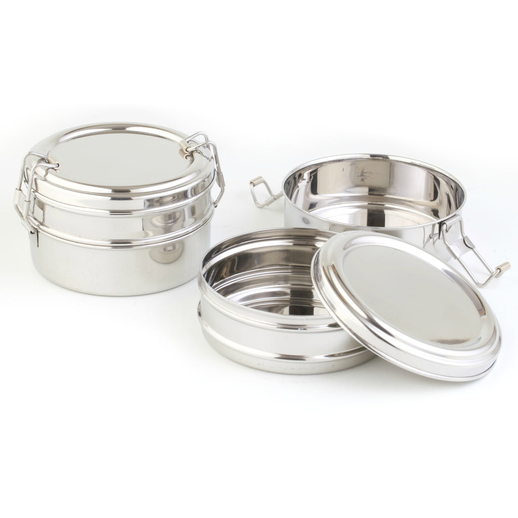 Stainless Steel Double Bento Round MINI Lunch Box