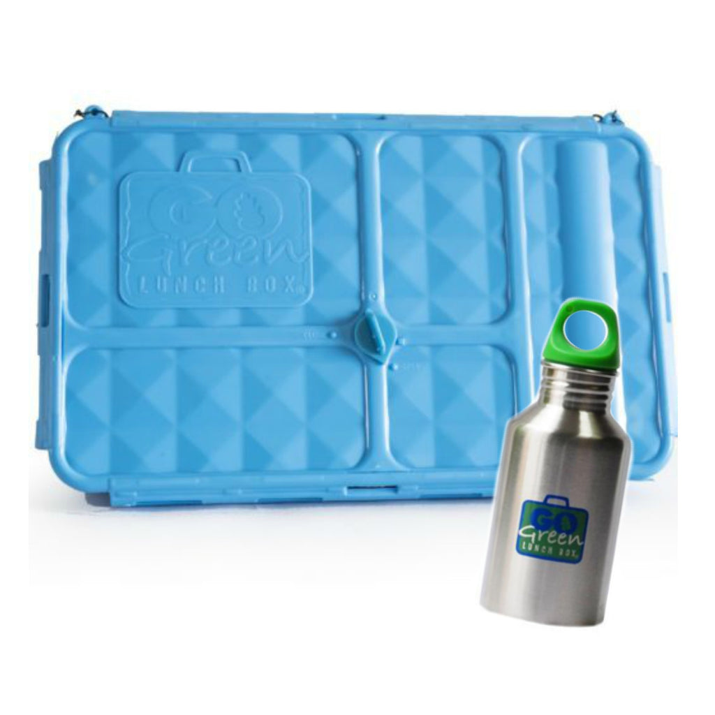 Go Green Large Lunch Box & Drink Bottle - Blue - LAST ONE!