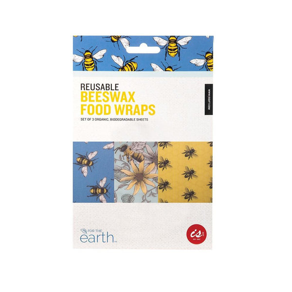 Reusable Beeswax Food Wraps - Bees Design - 3pk