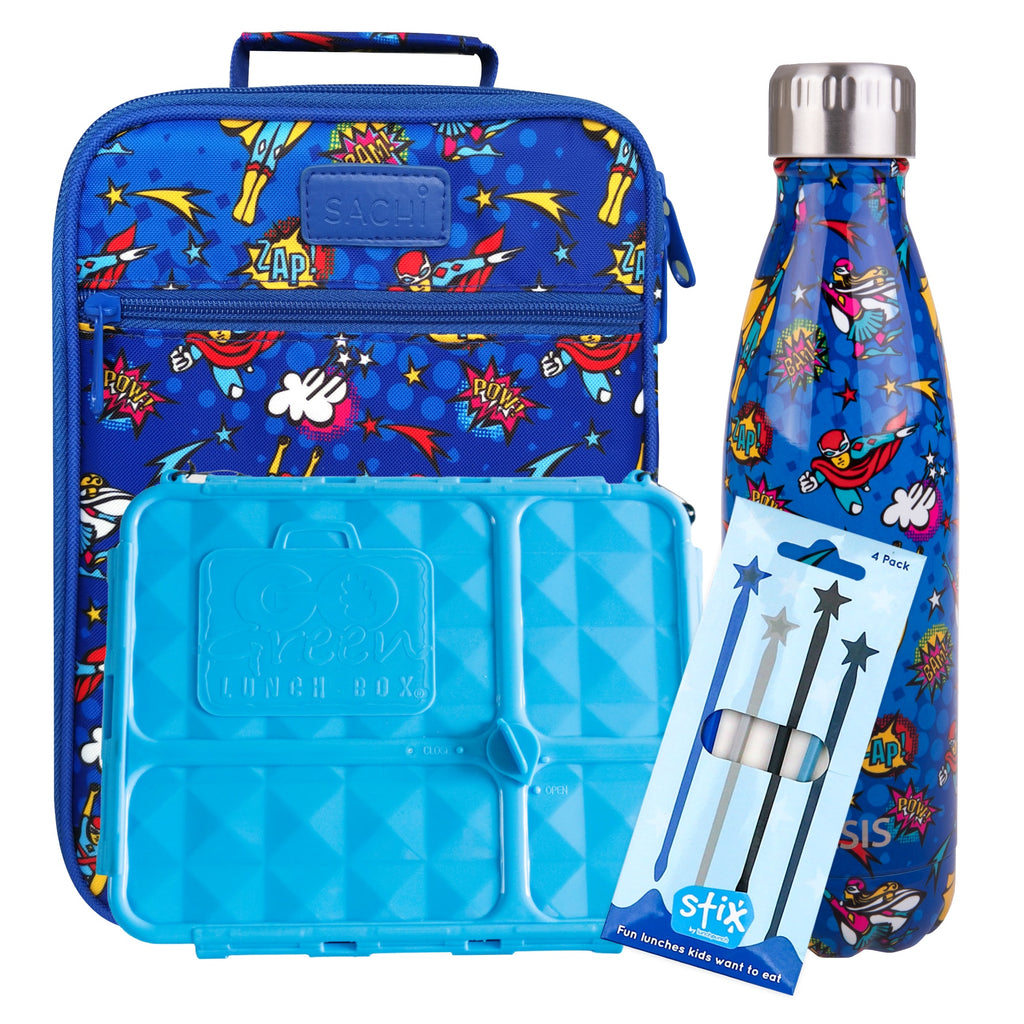 Superhero Lunch Box, Bag & Bottle Bundle - Bonus STIX!