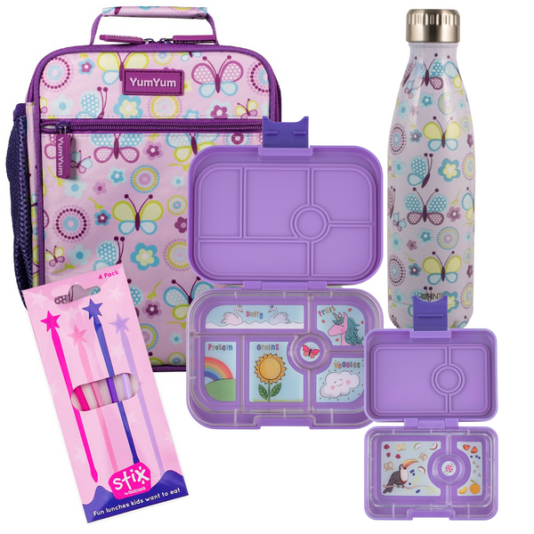 Avanti, Yumbox, Stix Lunch Box, Bottle & Bag Bundle - Butterflies
