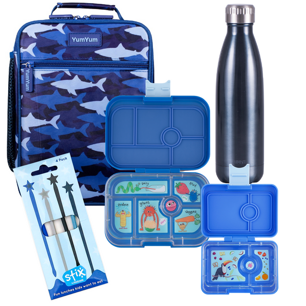 Avanti, Yumbox, Stix Lunch Box, Bottle & Bag Bundle - Camo Shark