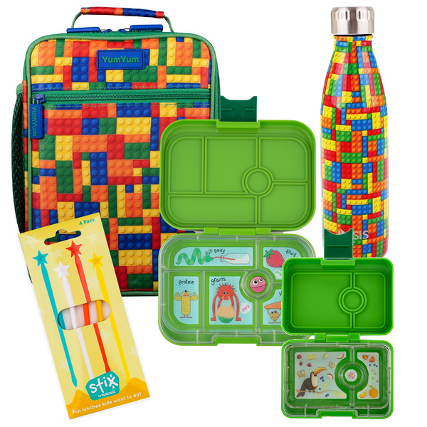 Avanti, Yumbox, Stix Lunch Box, Bottle & Bag Bundle - Green Brick Lego