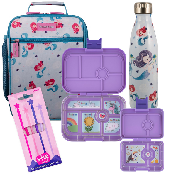 Avanti, Yumbox, Stix Lunch Box, Bottle & Bag Bundle - Mermaid Melody