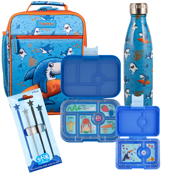 Avanti, Yumbox, Stix Lunch Box, Bottle & Bag Bundle - 3D Surfing Sharkie