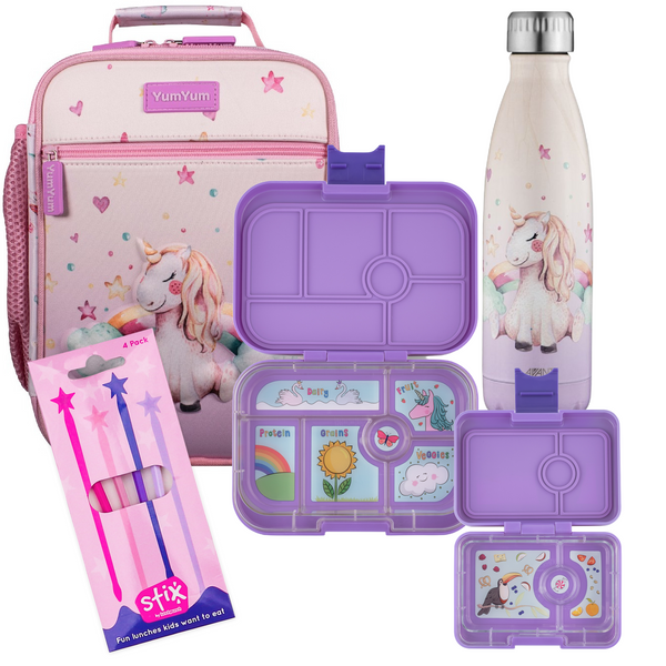 Avanti, Yumbox, Stix Lunch Box, Bottle & Bag Bundle - 3D Unicorn Dreaming