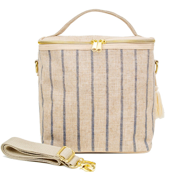 SoYoung Linen Poche Insulated Bag - Slate Pinstripe