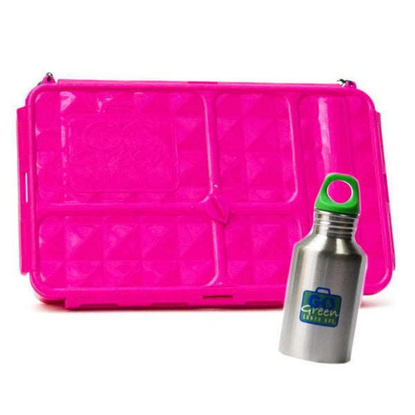 Go Green Large Lunch Box & Drink Bottle - Pink