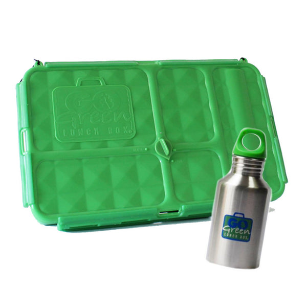 Go Green Large Lunch Box & Drink Bottle - Green