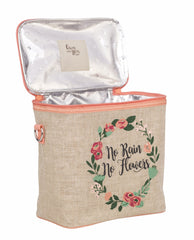 SoYoung LARGE Insulated Lunch Bag - No Rain No Flowers