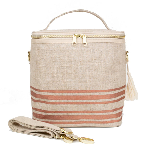 SoYoung Linen Poche Insulated Bag - Rose Gold Stripe