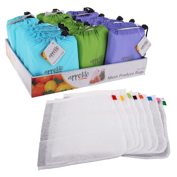 Appetito Reusable Mesh Produce Bags - 8 Pack