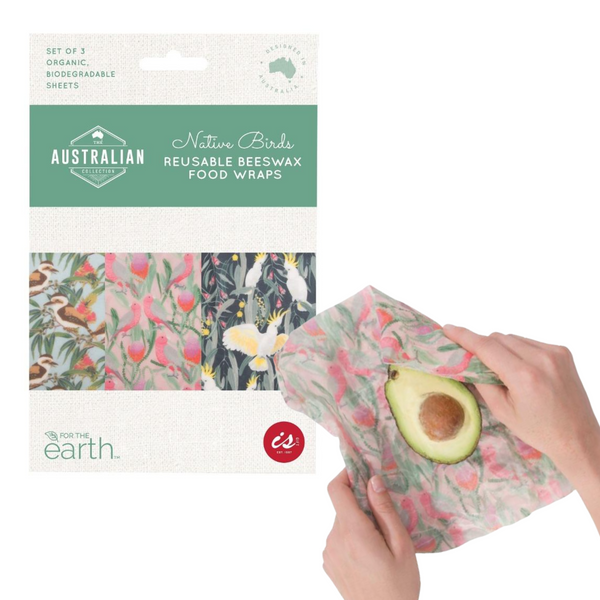 Reusable Beeswax Food Wraps - Native Birds Design - 3pk
