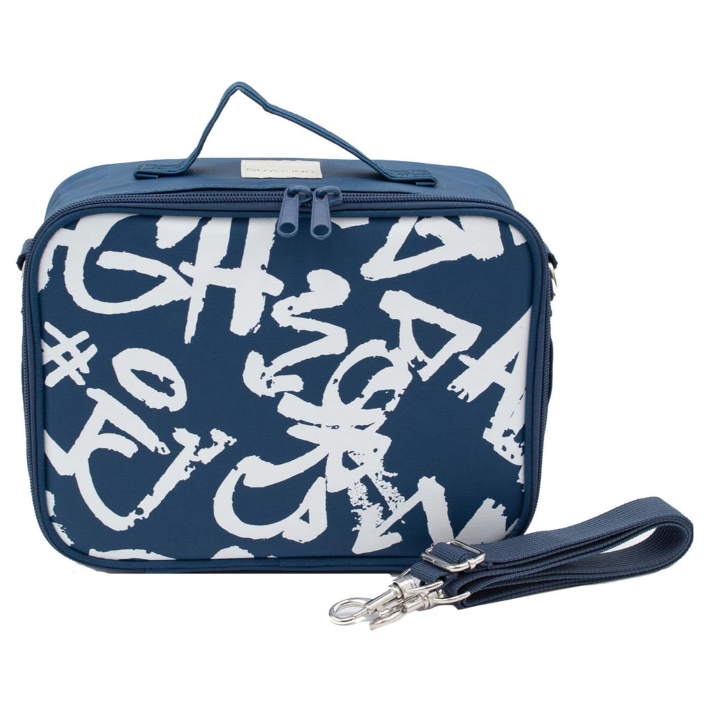 SoYoung Insulated Lunch Bag - Navy Paper Graffiti