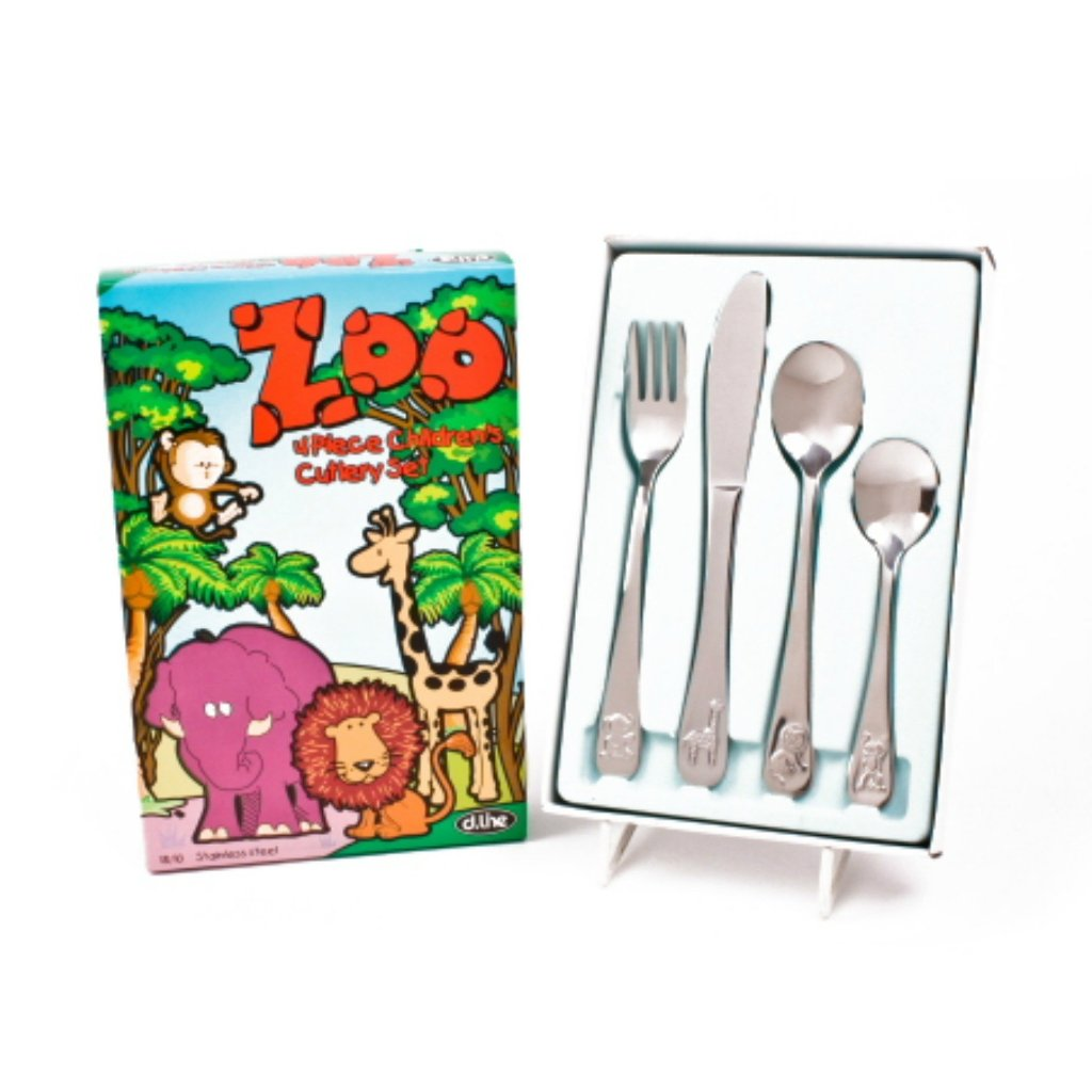Children's Stainless Steel Cutlery Set - Zoo