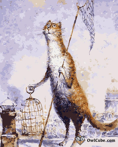 Need for a Bird in Cat World by Vladimir Rumyantsev - Easy DIY Paint by Numbers Kits - OwlCube Canvas Wall Art-owlcube.com