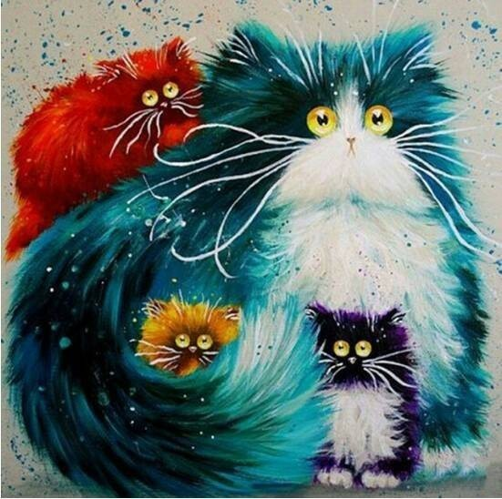 Cat Full Square/round Stones Cartoon 5d Diamond Painting Diamond Embroidery Rhinestone Picture Diamond Mosaic Dimond Needlework