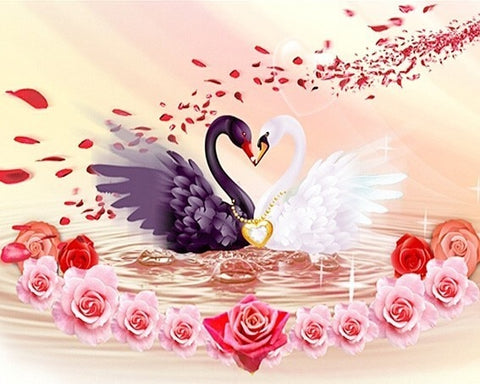 LZAIQIZG Diamond Embroidery Swan Pictures Of Rhinestones Diamond Mosaic Animals Diamond Painting Full Square Drill Wall Decor