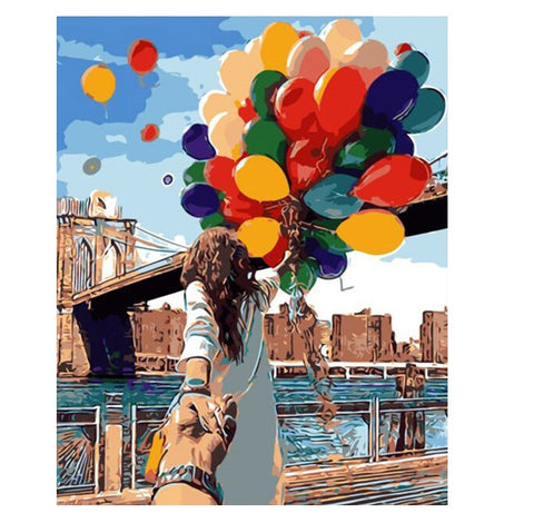 Colorful Balloon Lover - Easy DIY Paint by Numbers Kits - Owlcube Canvas Wall Art - OwlCube - Diamond Painting by Numbers