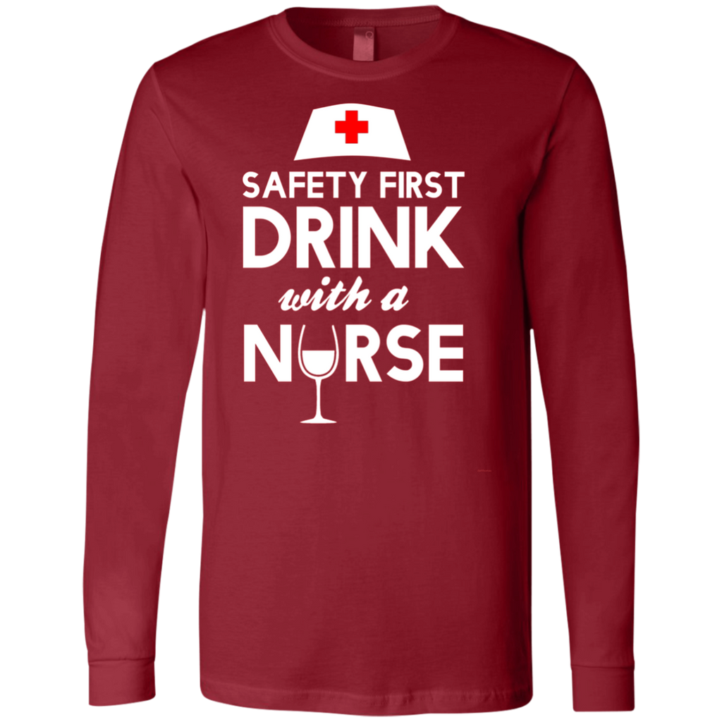 Safety first drink with a nurse AT0120 3501 Men's Jersey LS T-Shirt