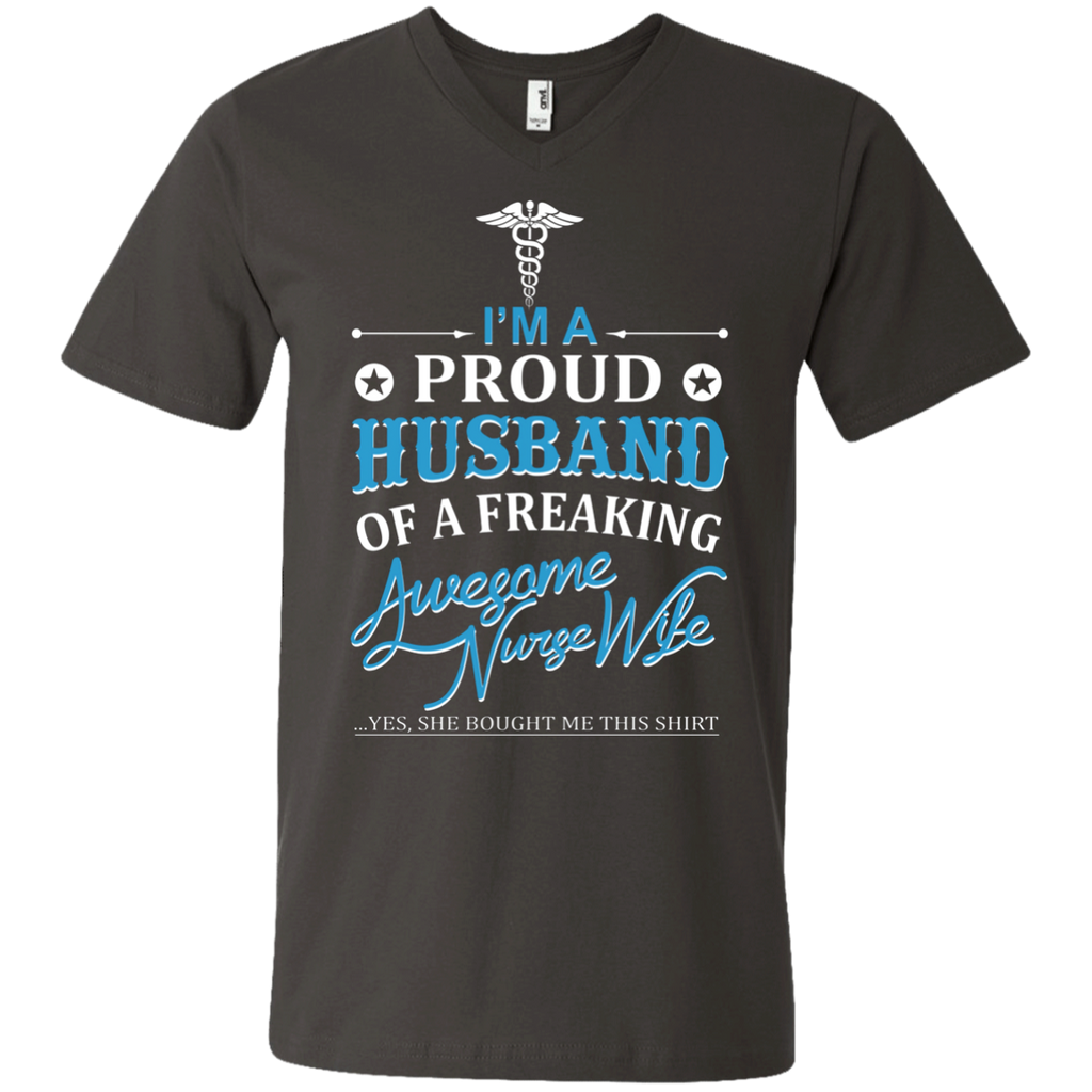 I'm a Proud Husband Of A Freaking Awesome Nurse Wife AT0087 982 Men's Printed V-Neck T-Shirt