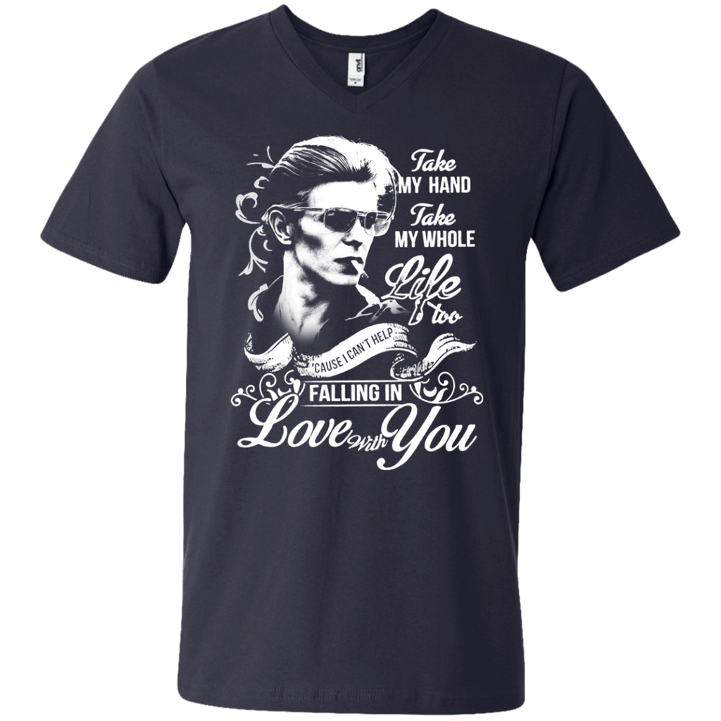 David Bowie Lovw - Falling in Love with you 982 Men's Printed V-Neck T-Shirt - OwlCube - Diamond Painting by Numbers