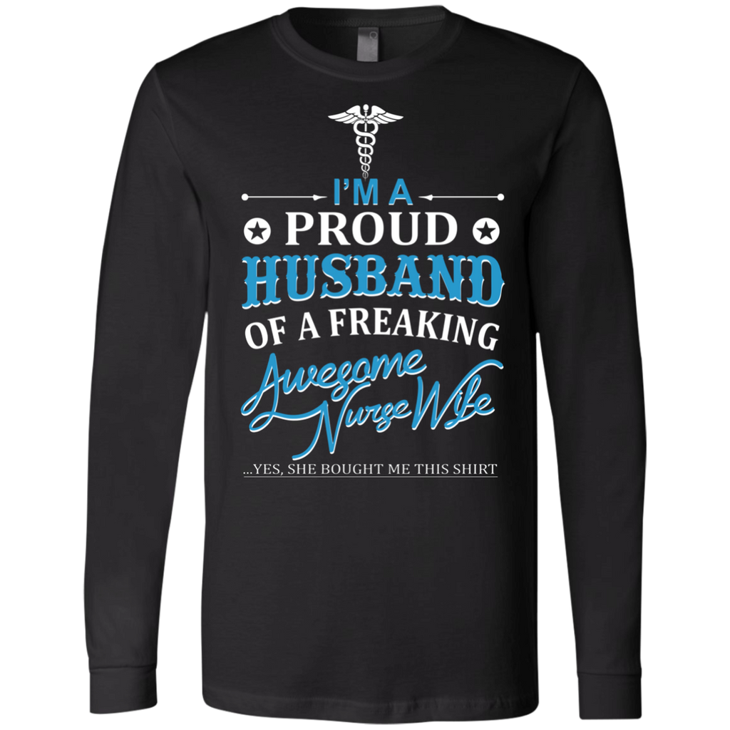 I'm a Proud Husband Of A Freaking Awesome Nurse Wife AT0087 3501 Men's Jersey LS T-Shirt