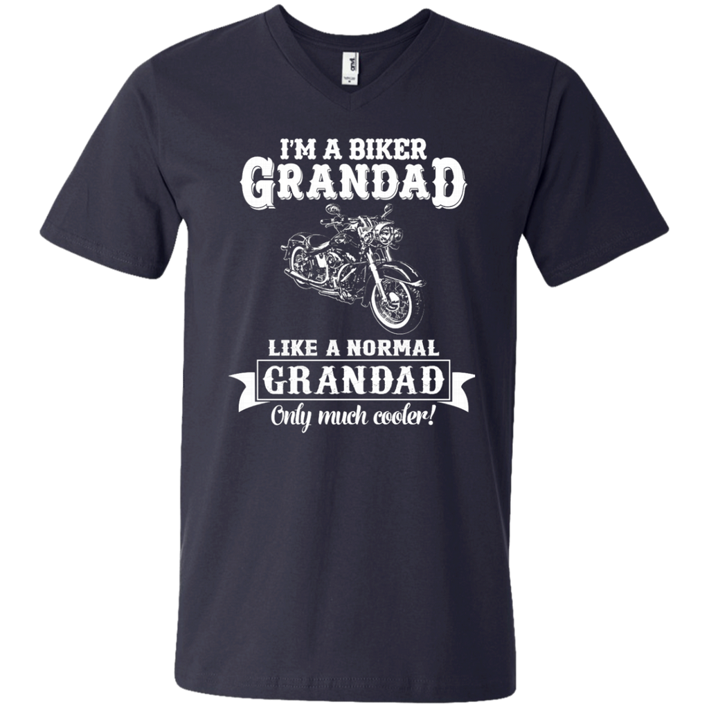 Biker Grandad , Like normal Grandad , Only Cooler AT0132 982 Men's Printed V-Neck T-Shirt - OwlCube - Diamond Painting by Numbers