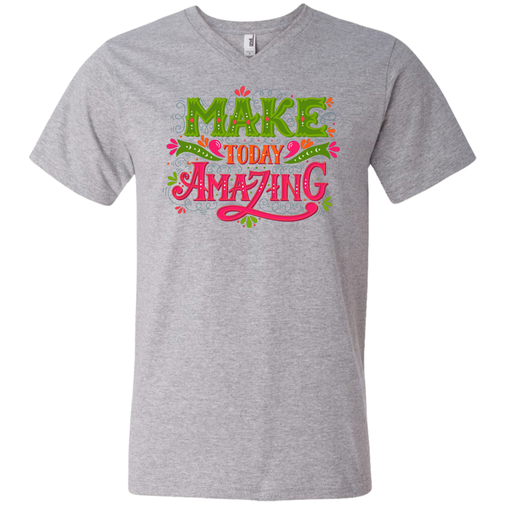 Make today amazing AT0097 982 Men's Printed V-Neck T-Shirt