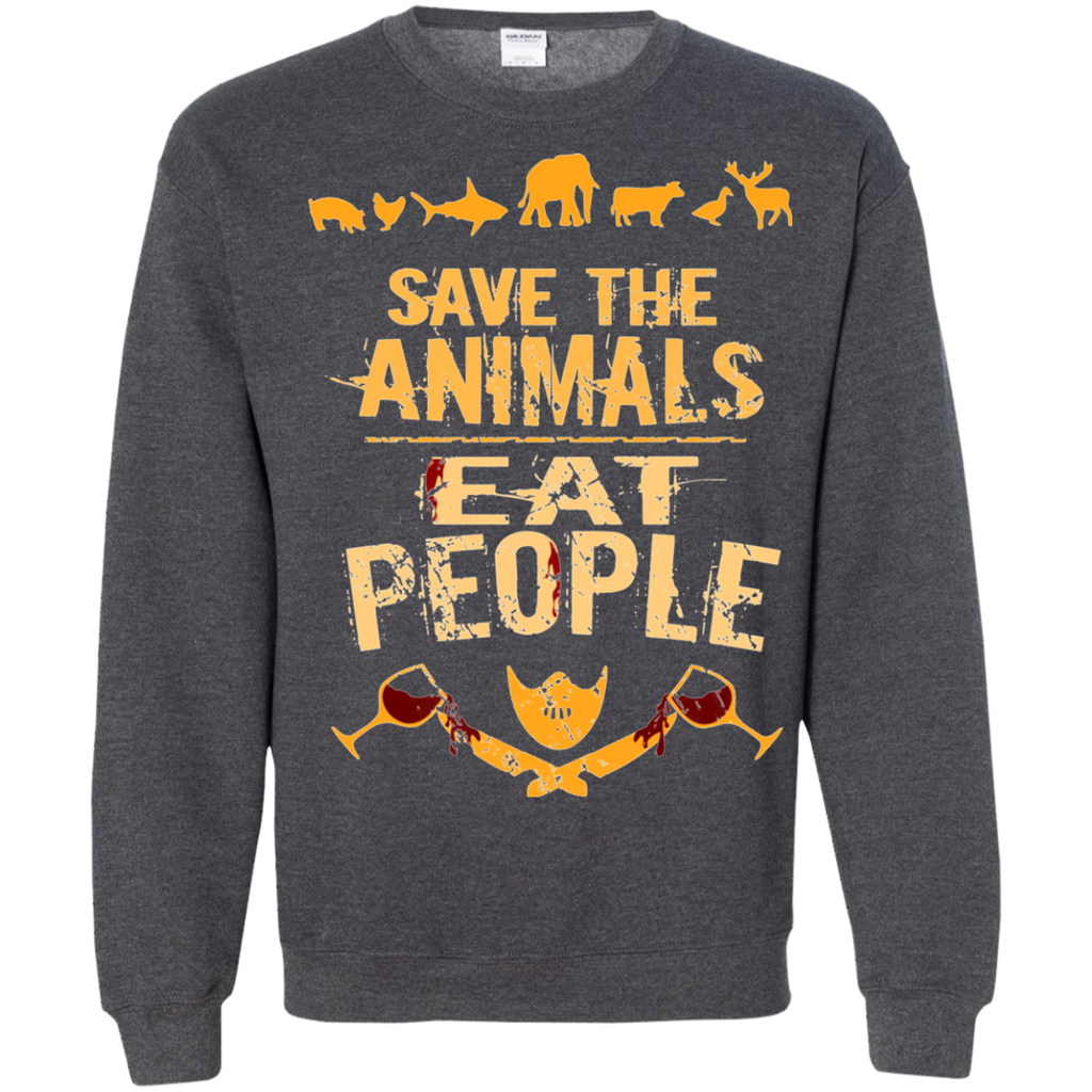 save the animals, EAT PEOPLE AT0050 G180 Crewneck Pullover Sweatshirt  8 oz.