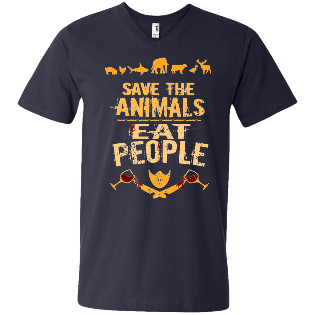save the animals, EAT PEOPLE AT0050 982 Men's Printed V-Neck T-Shirt