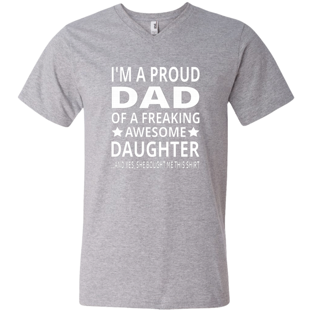 I'm A Proud Dad Of A Freaking Awesome Daughter AT0134 982 Men's Printed V-Neck T-Shirt