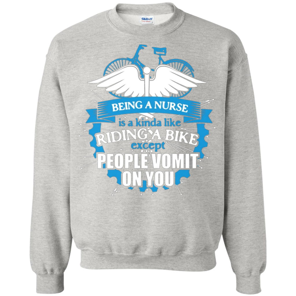 Being A Nurse Riding A Bike AT0121 G180 Crewneck Pullover Sweatshirt  8 oz. - OwlCube - Diamond Painting by Numbers