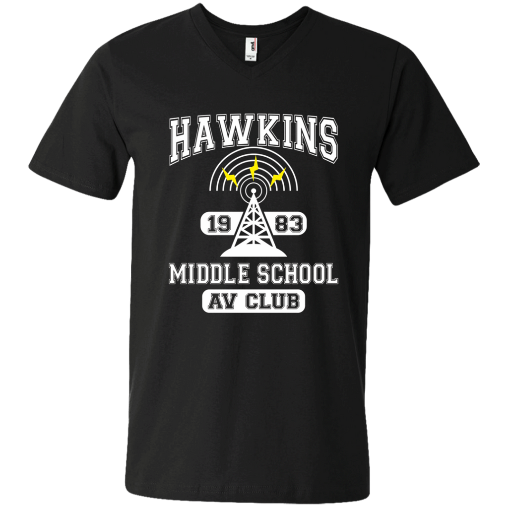 Stranger Things - Hawkins Middle School A.V. Club AT0102 982 Men's Printed V-Neck T-Shirt