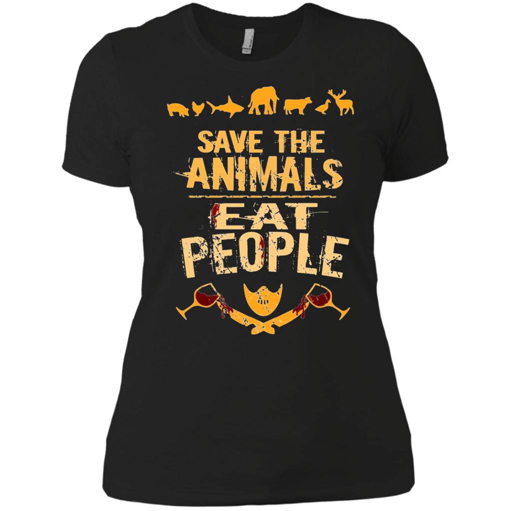 save the animals, EAT PEOPLE AT0050 NL3900 Ladies' Boyfriend T-Shirt