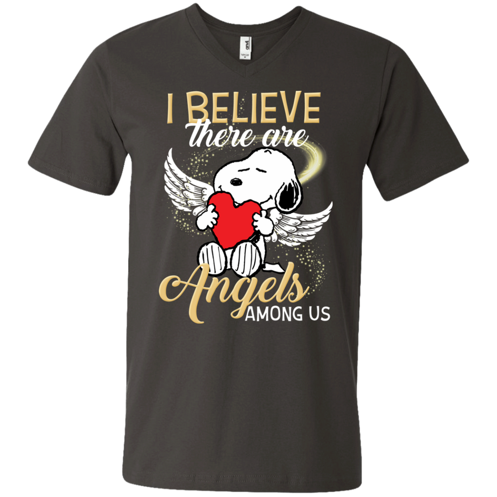 Snoopy Angels 982 Men's Printed V-Neck T-Shirt