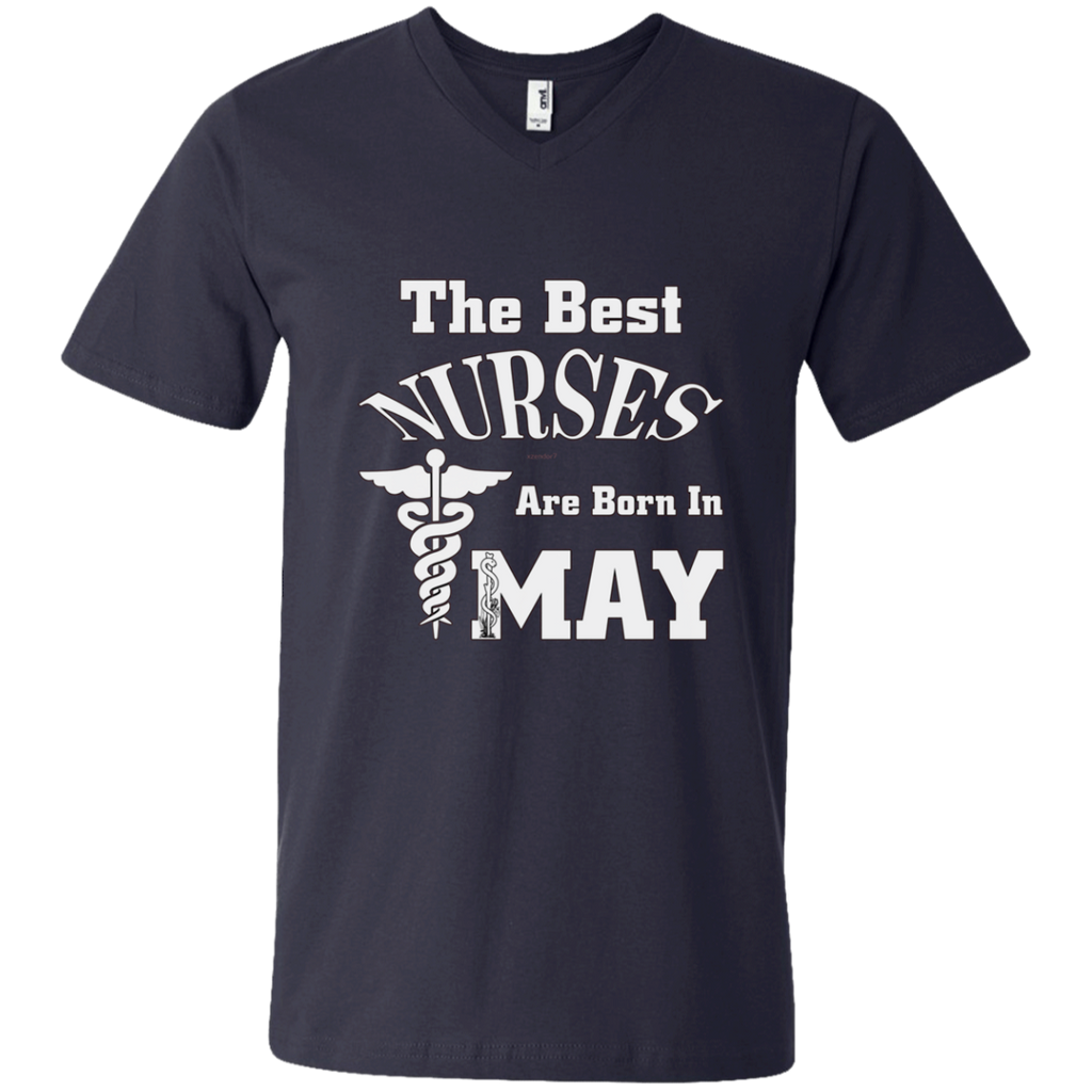 The Best Nurses Are Born In MAY AT0123 982 Men's Printed V-Neck T-Shirt